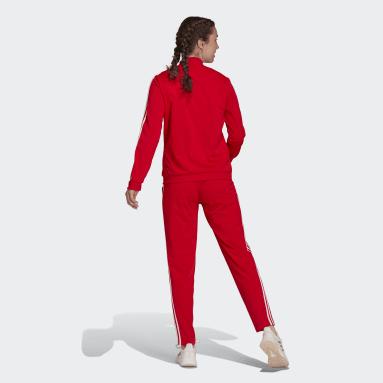 Agasalho Essentials 3-Stripes Vermelho Mulher Estilo Esportivo
