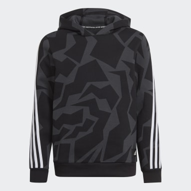 Youth Training Grey Future Icons 3-Stripes Graphic Hoodie
