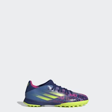 Zapatos de Fútbol X Speedflow. Messi.3 Pasto Sintético Azul Niño Fútbol