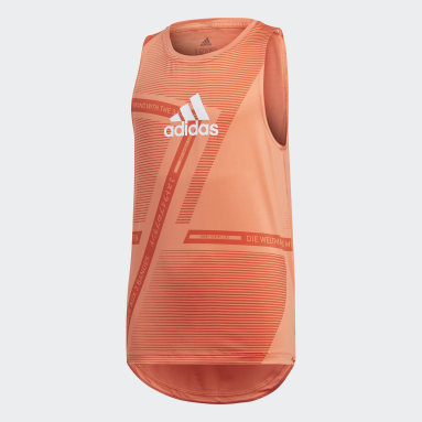 T-shirt Sleeveless Orange Filles Yoga