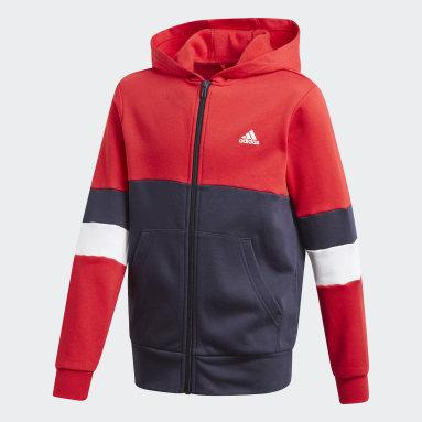 Chaqueta con capucha Linear Colorblock Rojo Niño Gimnasio Y Entrenamiento