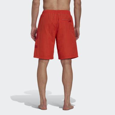 Men Y-3 Orange Y-3 Mid Length Large Logo Swim Shorts