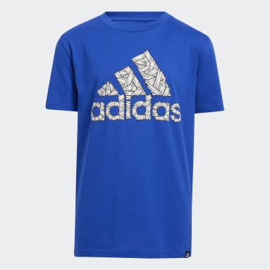 Youth Running Blue Laced Up Badge of Sport Tee