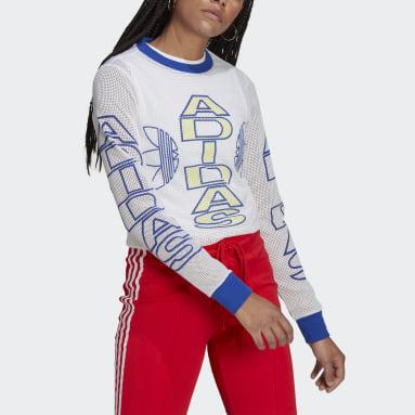 Women Originals White Collegiate Mesh Long-Sleeve Top
