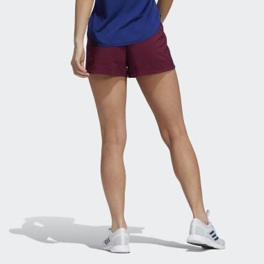 Women Running Burgundy Pacer 3-Stripes Adilife Shorts