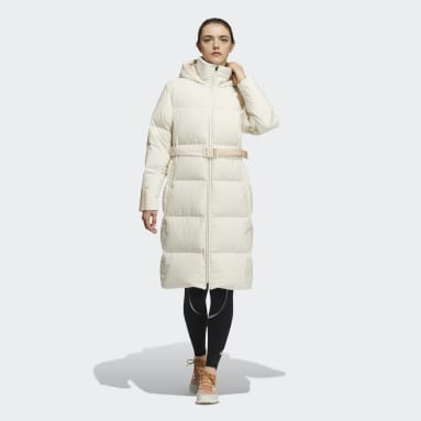 Women City Outdoor White Belted Down Coat