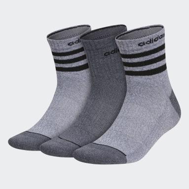 Men's Training Grey 3-Stripes High Quarter Socks 3 Pairs