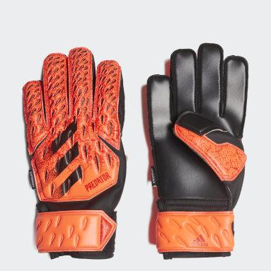 Kids Football Orange Predator Fingersave Match Goalkeeper Gloves
