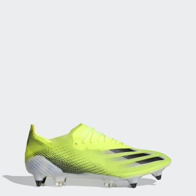 Bota de fútbol X Ghosted.1 césped natural húmedo Amarillo Mujer Fútbol