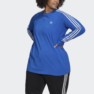 Ženy Originals modrá Tričko Adicolor Classics Long Sleeve (plus size)