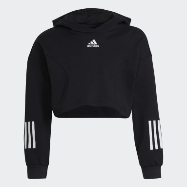 Sweat-shirt à capuche XFG Regular Cropped Noir Filles Fitness Et Training