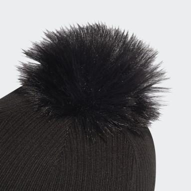 Bonnet Faux Fur Pompom Noir Femmes Originals