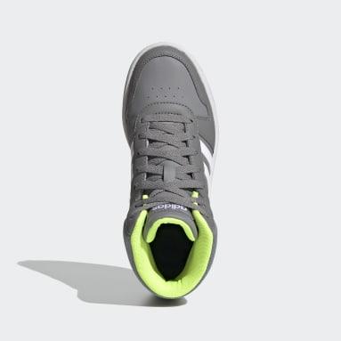 Kids Essentials Grey Hoops 2.0 Mid Shoes