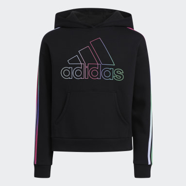 Youth Training Black Multicolor 3-Stripes Hoodie