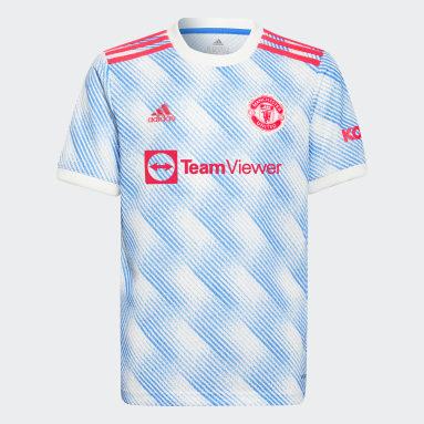 Camisa 2 Manchester United 21/22 Branco Meninos Futebol