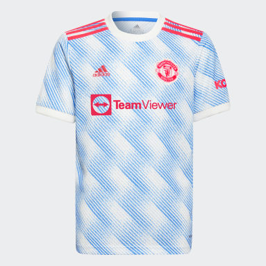 Youth 8-16 Years Football White Manchester United 21/22 Away Jersey