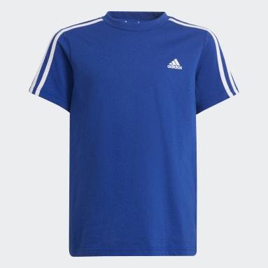 Polera adidas Essentials 3-Rayas Azul Niño Training