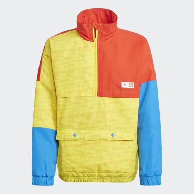 Youth 8-16 Years Gym & Training Yellow adidas x Classic LEGO® Bricks Half-Zip Warm Jacket
