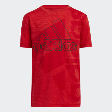Youth Training Red Vertical Badge of Sport Mélange Tee