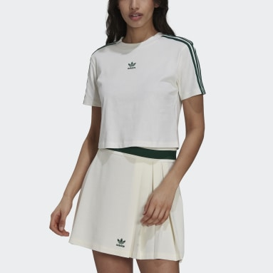 Dames Originals Wit Tennis Luxe Cropped T-shirt