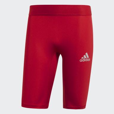 Men Football Red Alphaskin Sport Short Tights