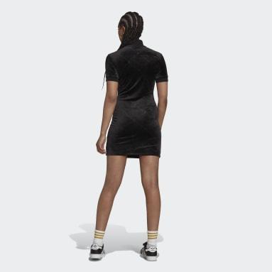 Kvinder Originals Sort Velvet Embossed adidas Originals Monogram kjole