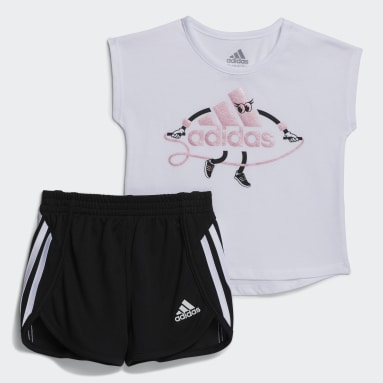 Infant & Toddler Training White Graphic Tee and Shorts Set