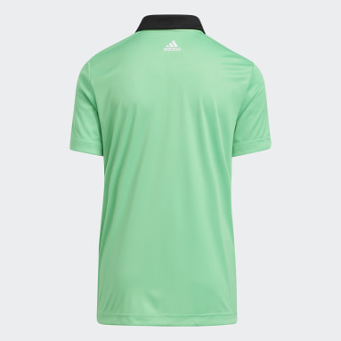 Boys Golf Black 3-Stripes Chest Primegreen Golf Polo Shirt