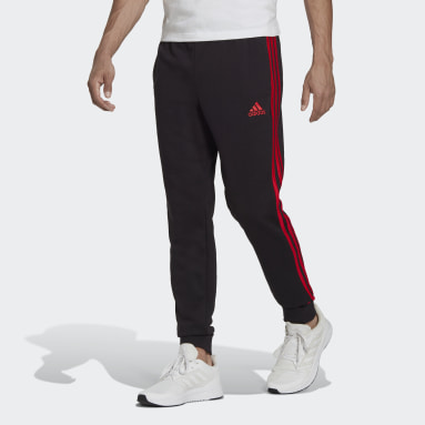 Men Sport Inspired Black Essentials French Terry Tapered Cuff 3-Stripes Pants