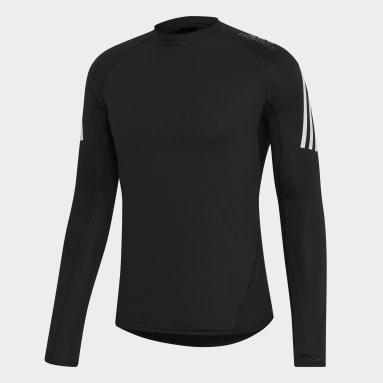 Men Yoga Black Alphaskin Sport+ 3-Stripes Tee