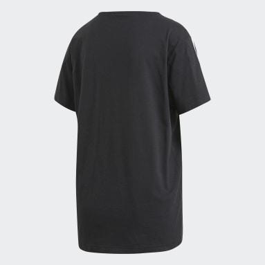 Women Gym & Training Black 3-Stripes Essentials Boyfriend T-Shirt
