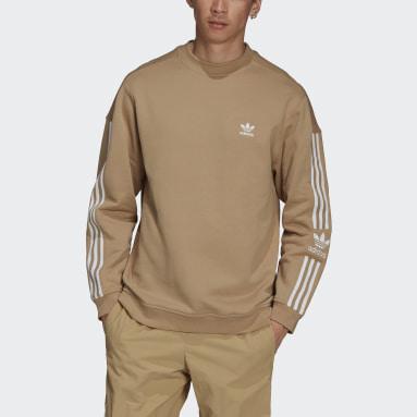 Men Originals Beige Adicolor Classics Lock-Up Trefoil Crewneck Sweatshirt