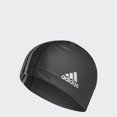 Swimming Black coated fabric swim cap