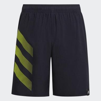 Girls Swim Blue Bold 3-Stripes Swim Shorts