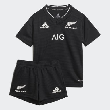 Kinder Rugby All Blacks Rugby Primeblue Mini-Heimausrüstung Replica Schwarz