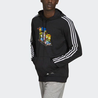 Mænd Sportswear Sort adidas x The Simpsons Family Graphic hættetrøje