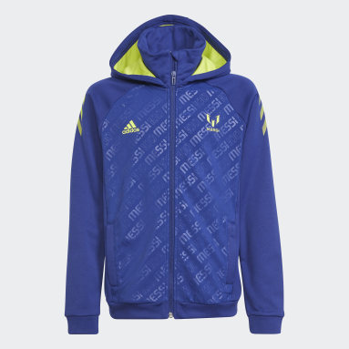 Youth 8-16 Years Gym & Training Blue AEROREADY Messi Football-Inspired Full-Zip Hoodie