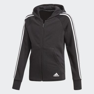 Mädchen Fitness & Training Must Haves 3-Streifen Kapuzenjacke Schwarz