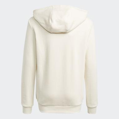 Kids Originals White Graphic Non-Dye Organic Cotton Hoodie