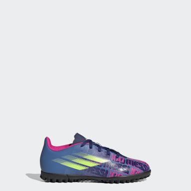 Children Football Blue X Speedflow Messi.4 Turf Boots