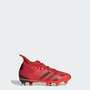 Děti Fotbal červená Kopačky Predator Freak.3 Soft Ground