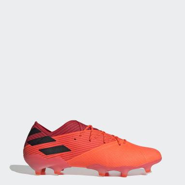 Bota de fútbol Nemeziz 19.1 césped natural seco Naranja Mujer Fútbol