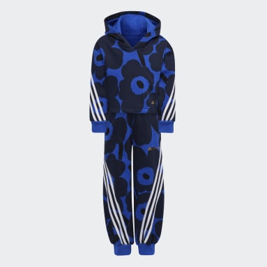 Dievčatá Tréning A Fitnes modrá Súprava Marimekko Primegreen Warm-Up Winter Fleece 3-Stripes Floral Hoodie and Pants