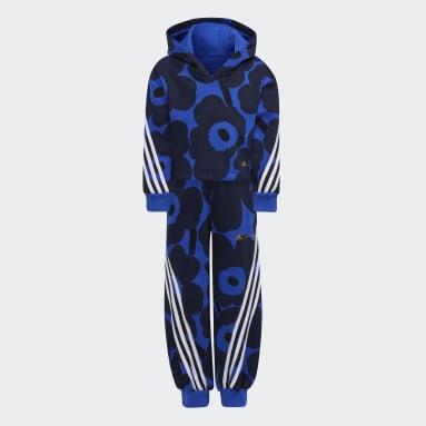 Dívky Cvičení A Trénink modrá Souprava Marimekko Primegreen Warm-Up Winter Fleece 3-Stripes Floral Hoodie and Pants