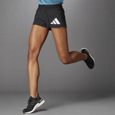 Women Running Black 3 Bar Logo Woven Shorts