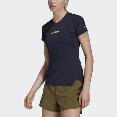 T-shirt Terrex Parley Agravic Trail Running All-Around Bleu Femmes TERREX
