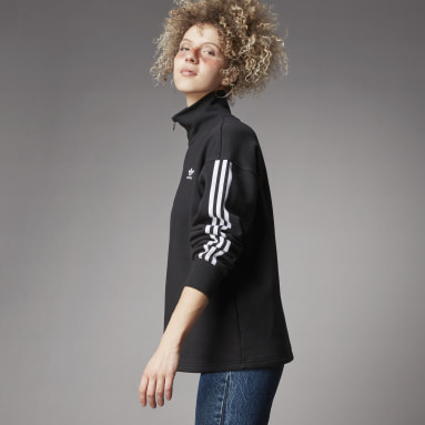 Frauen Originals adicolor Classics Half-Zip Sweatshirt Schwarz