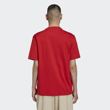 Men Y-3 Red Y-3 Classic Chest Logo Tee