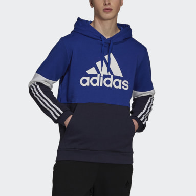 Men Sportswear Blue Essentials Fleece Colorblock Sweatshirt