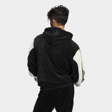 Mænd Originals Sort adidas SPRT Velour hættetrøje